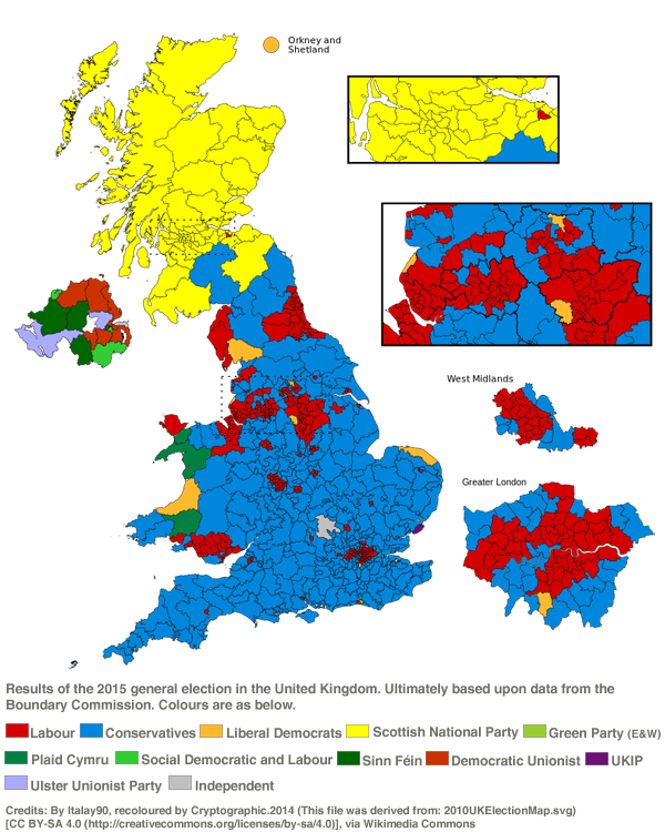 (Results of the 2015 general election in the United Kingdom / Wikimedia Commons)