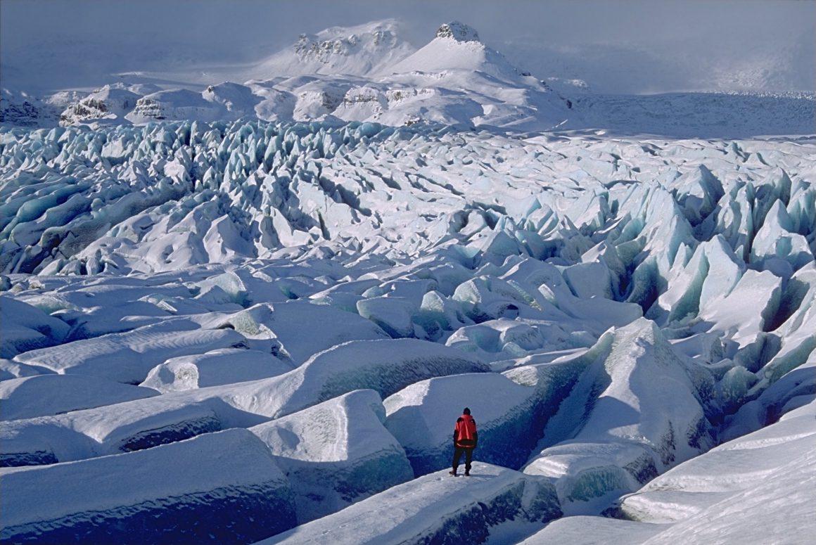 Retreating Breiðamerkurjökull glacier