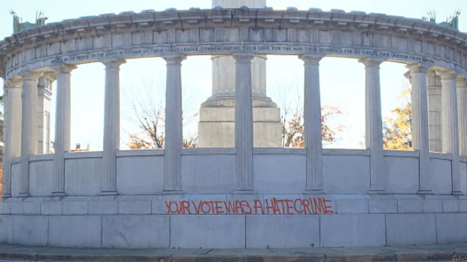 "Graffito ""Your vote was a hate crime"""