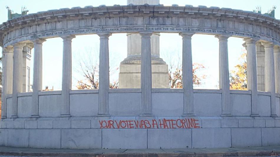 """Graffito """"Your vote was a hate crime"""""""