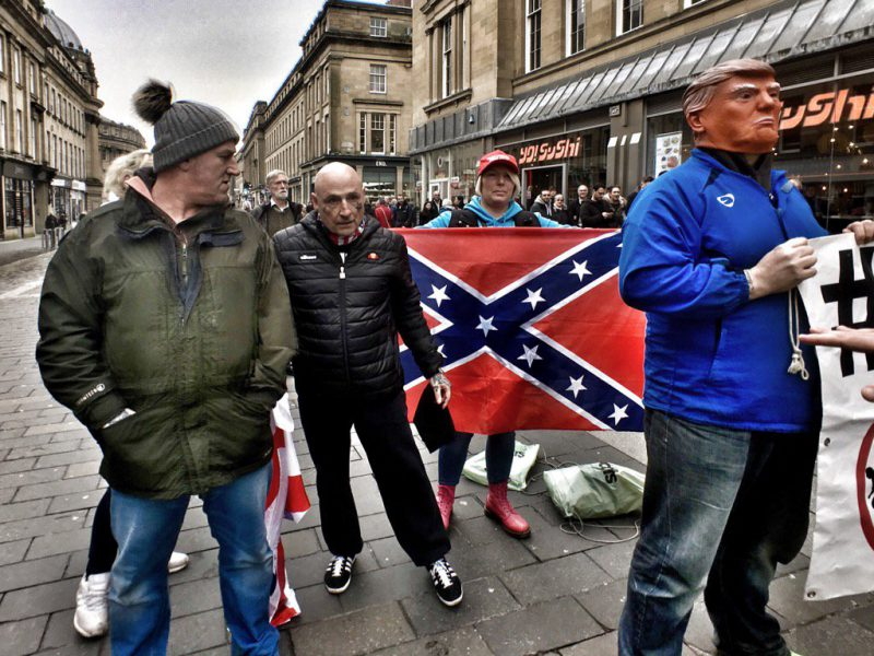 Newcastle's anti-EU marchers displaying a confederate flag and a Trump mask