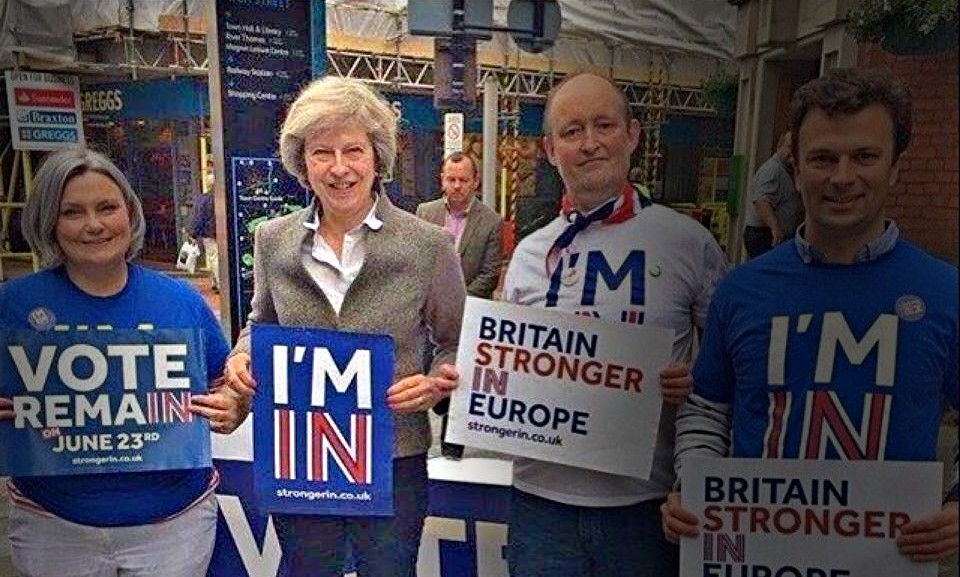 Theresa May taking part in the Remain campaign