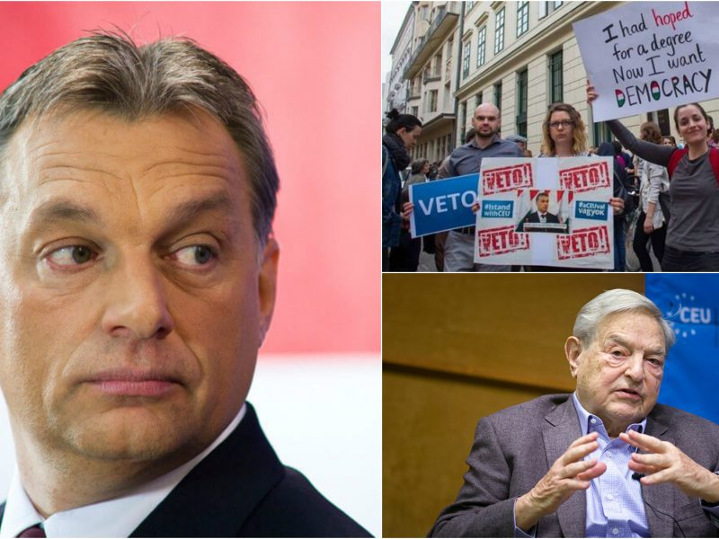 Viktor Orbán, protesters in Budapest rallying to save the Central European University (CEU), George Soros