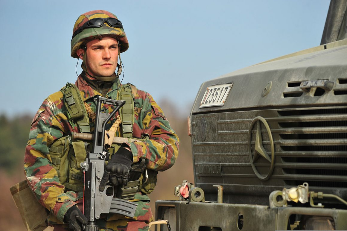 Belgian soldier during an exercise in Germany