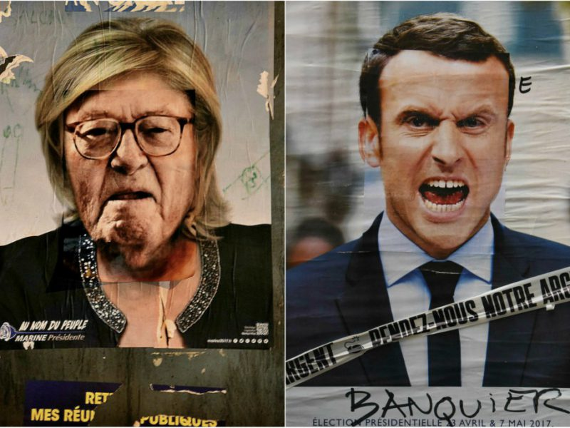 Election campaign posters of Marine Le Pen and Emmanuel Macron