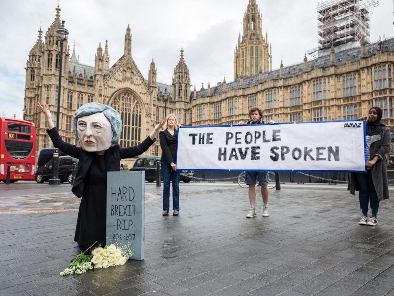 Campaigners from global citizens´ movement Avaaz demonstrate after UK general elections
