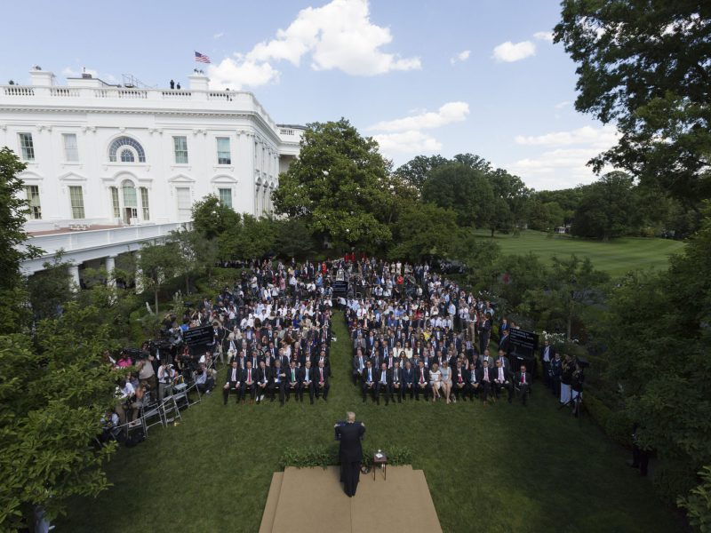 President Trump announces his final decision on removing the US from the Paris Accord in the Rose Garden of the White House on June 1, 2017