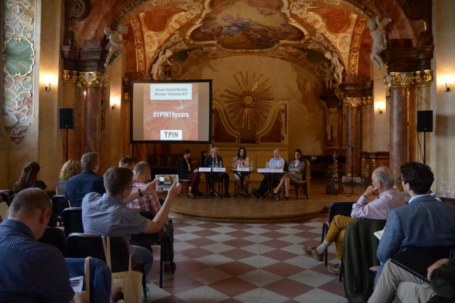 Panelists (from left to right: Katarzyna Sobieraj, Wojciech Przybylski, Miriam Lexmann, Christian Davies, Natacha Fauillimmel) with audience in Oratorium Marianum, University of Wrocław, Poland