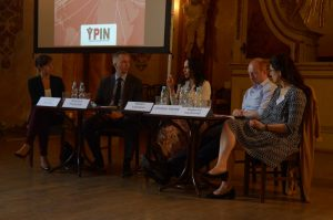 The panelists: Katarzyna Sobieraj, Wojciech Przybylski, Miriam Lexmann, Christian Davies, Natacha Fauillimmel