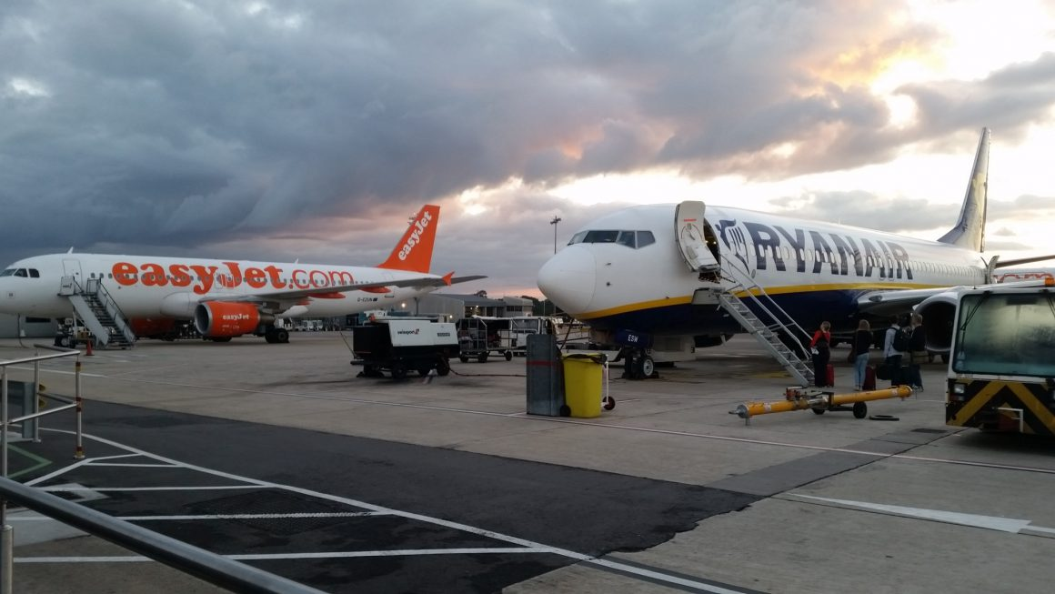 Ryanair and easyJet planes at Bristol Airport