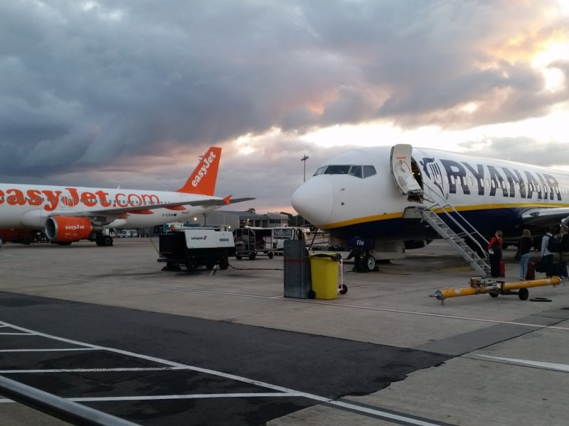 Ryanair and easyJet planes at Bristol Airport