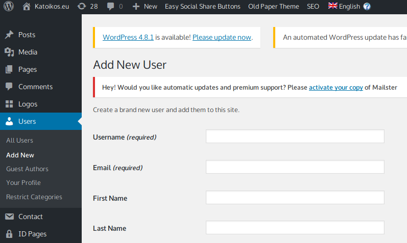 Adding new user dialogue in CMS