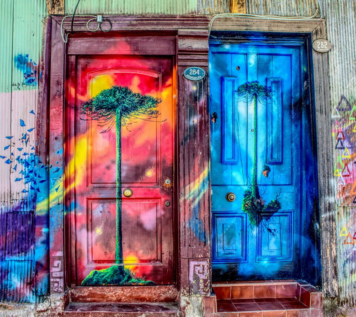 Two painted doors depicting different pieces of art and differing narratives
